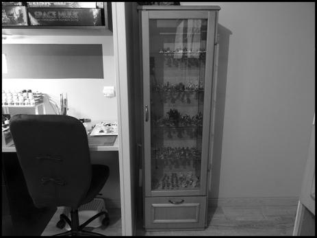 On commence par l'indispensable vitrine. Ce meuble a été construit par mon beau-père, menuisier de métier.